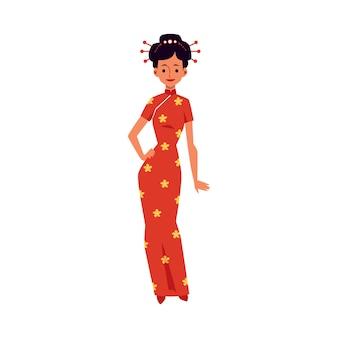 Bella donna in vestito rosso festivo tradizionale cinese. personaggio dei cartoni animati di felice ragazza orientale per le vacanze.