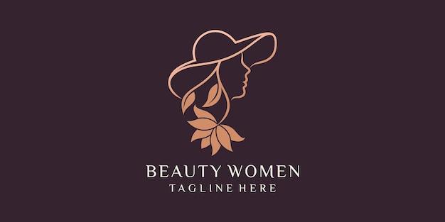 Bella combinazione donna di modello di progettazione del logo del cappello da portare della donna icone vettoriali premium