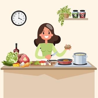 Bella donna che cucina la minestra sulla cucina