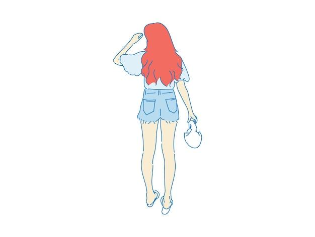 Bella donna carina ragazza in piedi dietro, vista posteriore della persona, vettore