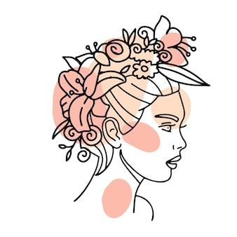 Bel viso di donna con ghirlanda di fiori disegno a tratteggio continuo art