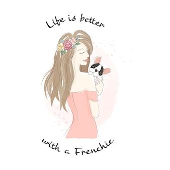 Bella donna che tiene bulldog francese cucciolo doodle linea stile arte
