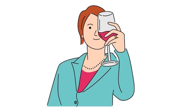 Bella donna che tiene un bicchiere di vino