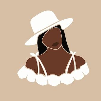 Illustrazione di bella donna in stile boho art sfondo di moda moderna