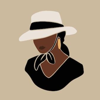 Illustrazione di bella donna in stile boho art sfondo di moda moderna Vettore Premium