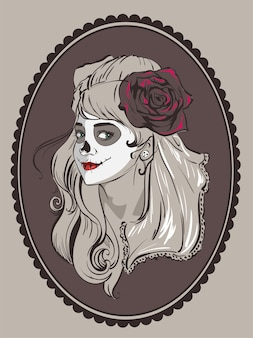 Ritratto di bella donna per il giorno di festa messicana dei morti.