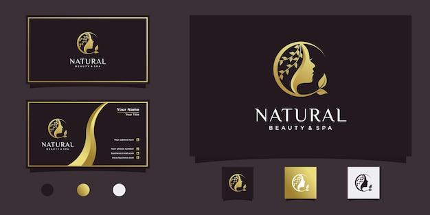 Bellissimo design del logo del fiore del viso della donna con uno stile di colore sfumato di lusso