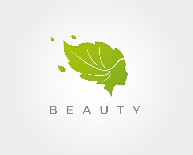 Modello di progettazione del logo del viso di bella donna. capelli, ragazza, simbolo foglia. concetto di design astratto per salone di bellezza, massaggi, riviste, cosmetici e spa. icona di vettore premium.