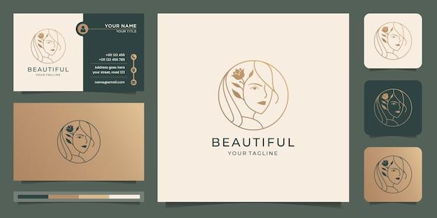 Logo del salone femminile di bella donna logo.inspiration con stile foglia, fiore, linea arte, forma del cerchio.
