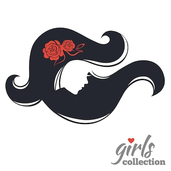 Siluetta di bella donna con fiori. collezione ragazze