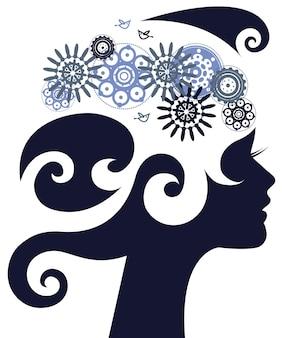 Bella silhouette di donna con fiori