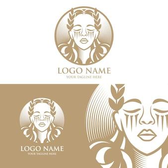 Modello di logo vettoriale di bella donna