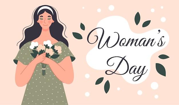 Bella donna con un mazzo di fiori. cartolina per la festa della donna. illustrazione in stile piatto
