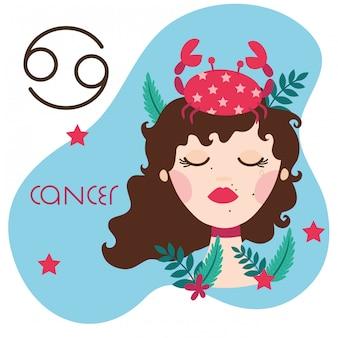 Bella donna con l'illustrazione del segno dello zodiaco del cancro