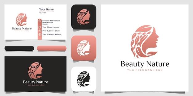 Logo del fiore del viso della bella donna e concetto di design del biglietto da visita per salone di bellezza e spa
