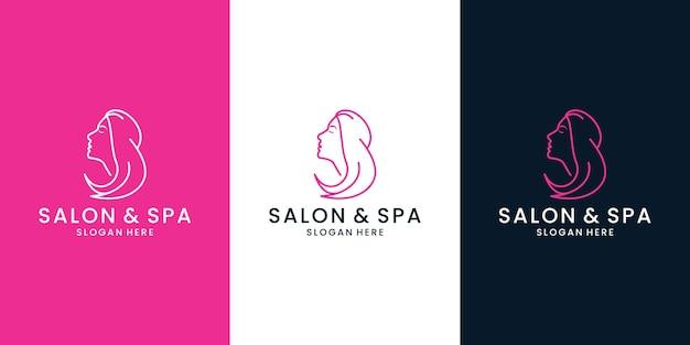 Le belle donne affrontano il design del logo dell'acconciatura per il salone e la spa