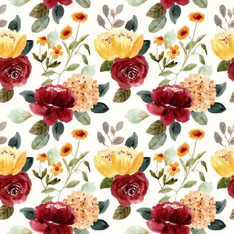 Modello senza cuciture dell'acquerello bellissimo fiore rosso giallo