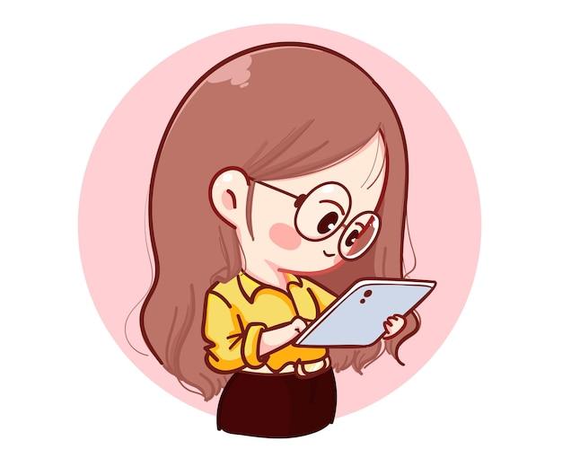 Bella giovane donna di affari che controlla la sua illustrazione del fumetto della compressa