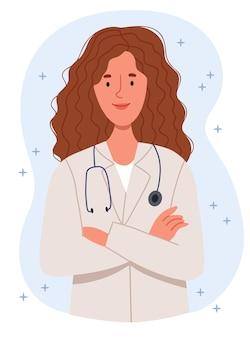 Bella giovane dottoressa pronta ad aiutare