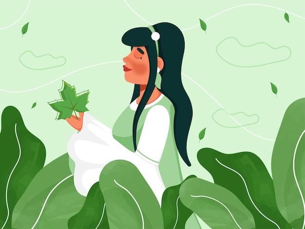 Bella ragazza giovane personaggio e foglie decorate su sfondo verde.