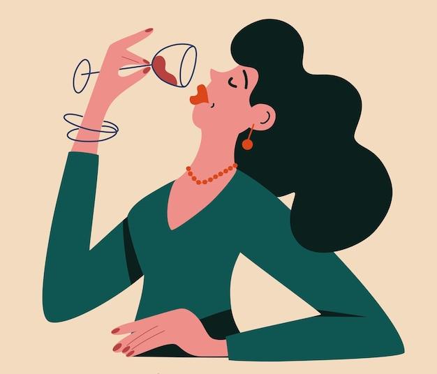 Vino bevente della bella ragazza. donna con un bicchiere di vino rosso calice. per bar ristoranti cartoline e poster. cartoon piatto illustrazione vettoriale isolato su sfondo bianco.