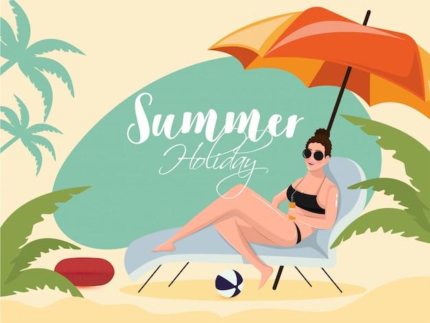 Bella ragazza che si distende sulla sedia di spiaggia per le vacanze estive