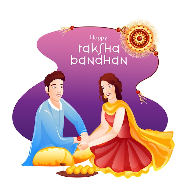 Bella ragazza che lega rakhi (braccialetto) al polso di suo fratello per la felice celebrazione di raksha bandhan.