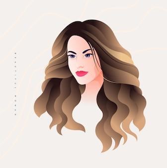 Bella giovane donna mezza girata ritratto con lunghi capelli dorati