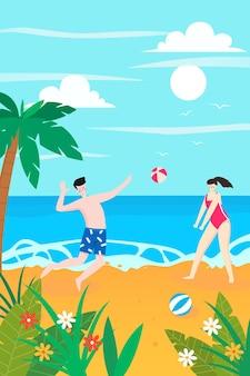 Bella giovane donna e uomo che giocano a palla sulla spiaggia