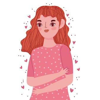 Bella giovane donna ritratto cuori amore fumetto illustrazione