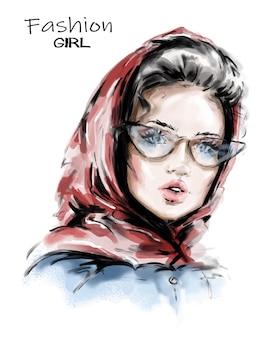 Bella giovane donna in scialle.