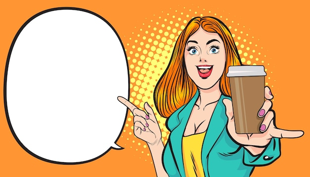 Bella giovane donna mostra bere retro signora bicchiere d'acqua in retro vintage pop art comic style