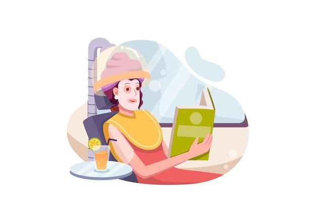 Bella giovane donna con maschera facciale rilassante nel salone della stazione termale