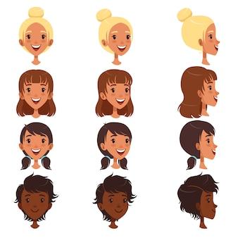 Belle giovani donne con vari set di stile di capelli, illustrazioni di avatar di persone