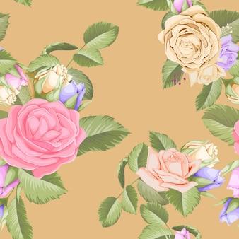 Bellissimo motivo floreale senza soluzione di continuità con bouquet di rose