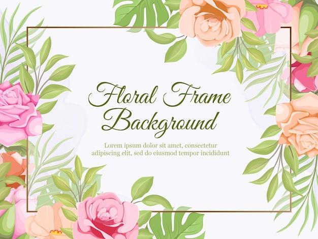 Bellissimo design floreale del modello del fondo della bandiera di nozze
