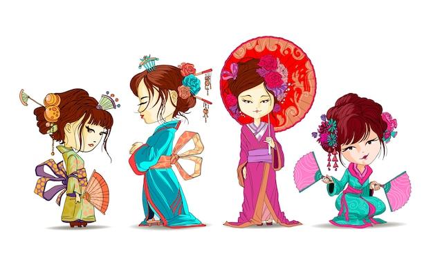 Le belle ragazze giapponesi mettono il basamento e si siedono in kimono. giovane geisha con l'ombrello, fan giapponesi, illustrazione giapponese timida di vecchio stile tradizionale dei capelli di maiko di trucco del kimono isolata