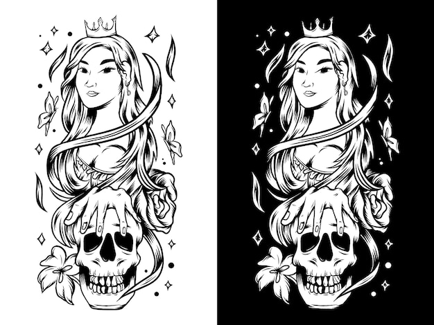 Bellissima ragazza regina con illustrazione di teschio e fiori