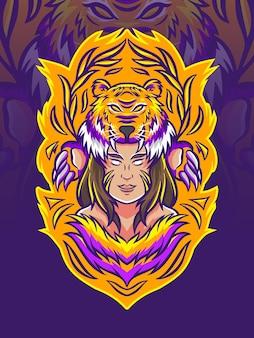 Bella donna con illustrazione di cappello di tigre