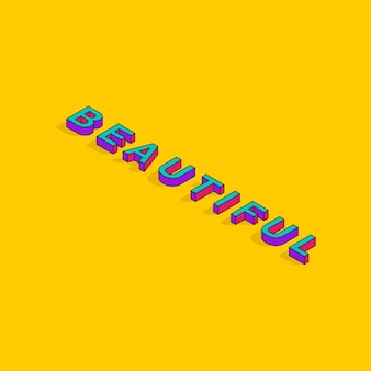 Beautifultext 3d isometrico font design pop art tipografia lettering vector illustration