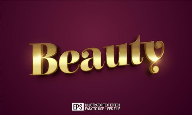 Modello di effetto stile modificabile con testo 3d di bellezza