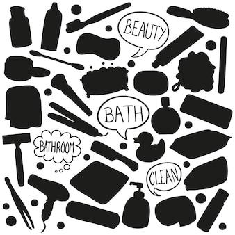 Clipart di vettore della siluetta del bagno di bellezza