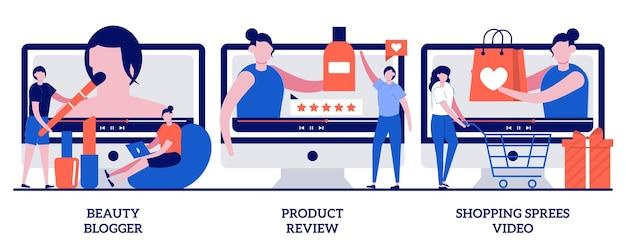 Blogger di bellezza, recensione del prodotto, concetto di video di shopping con persone minuscole. video tutorial impostati. influencer marketing, metafora in streaming per vlogger.