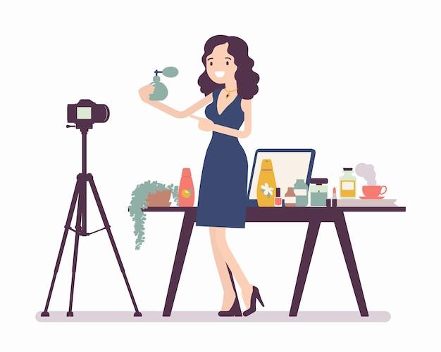 Blogger di bellezza in streaming. donna di colore che esamina i contenuti di cosmetici per blog, siti web, parla di capelli, trucco, cura della pelle e moda, pubblica video di marketing. illustrazione del fumetto di vettore stile piano