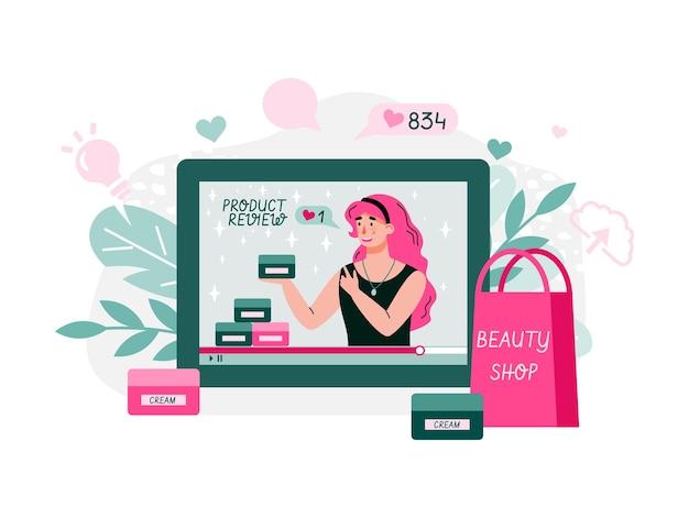 Streaming di blogger di bellezza. donna che esamina i contenuti di cosmetici per blog personale, sito web, parlando di capelli, trucco, cura della pelle, moda, pubblicazione di video di marketing. illustrazione del fumetto di stile piano