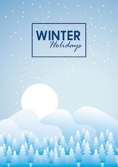 Bellezza blu paesaggio invernale tempesta di neve e illustrazione scena foresta