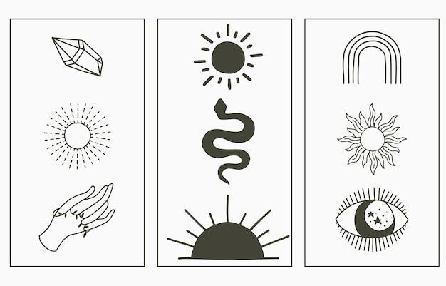 Collezione boho di bellezza con mano, serpente, occhio, sole.