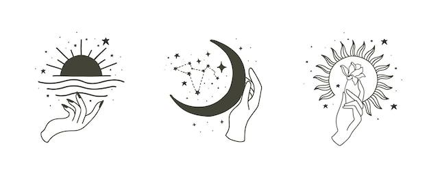 Collezione boho di bellezza con mano, sole, luna, stella.