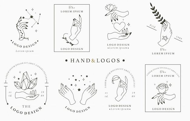 Collezione di logo di bellezza boho con mano, rosa, cristallo, cuore, stella.