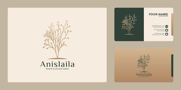 Design del logo botanico di bellezza con colore dorato per il tuo salone aziendale, cosmetico, centro benessere